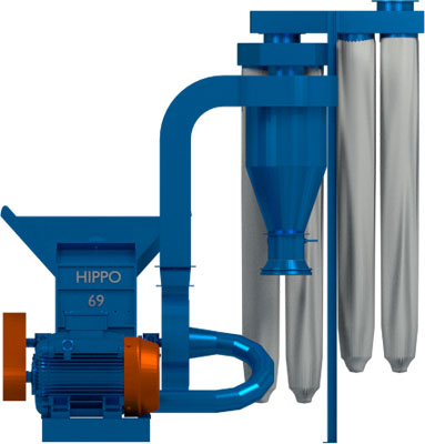 The Hippo Hammer Mill nor 69 sold in Southern Africa. Front